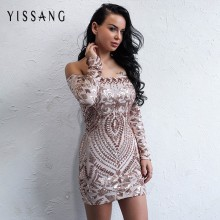 Yissang Elegant Sequined Dress Off The Shoulder Long Sleeve Ladies Sexy  Chic Dress Christmas Night Clubwear Outfit For women c63c2ea2a9ec
