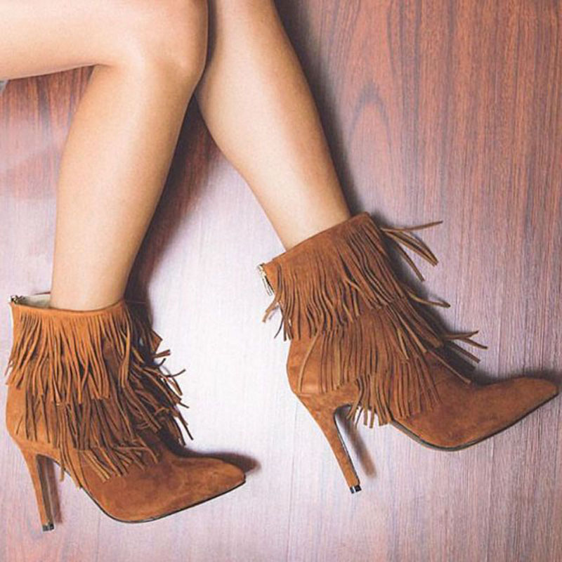 New arrival suede tassel pointed toe high heel boots Zipper ankle shoes women boots spring and autumn shoes brand designer egonery quality pointed toe ankle thick high heels womens boots spring autumn suede nubuck zipper ladies shoes plus size