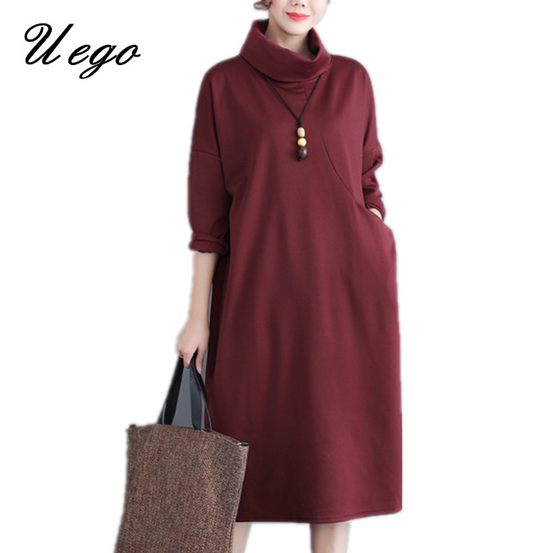 Uego Thick Cotton Turtleneck Spring Winter Dress Plus Size Loose Women Casual Dress 2019 New Lady Party Midi Dress vestidos