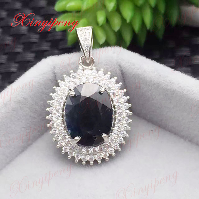 925 silver inlaid natural sapphire pendant 5 grams blue shield Ms luxury generous