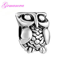 Beads jewelry jewelry bracelet jewelry classic pop pendant cute owl charm beads Fit Pandora Necklace bracelet(China)