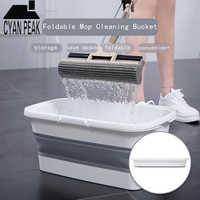 Folding Silicon Mop Bucket Camping Wash Bucket With Handle Collapsible Floor Mop Cleaning Fishing Car Wash Bucket Household Tool
