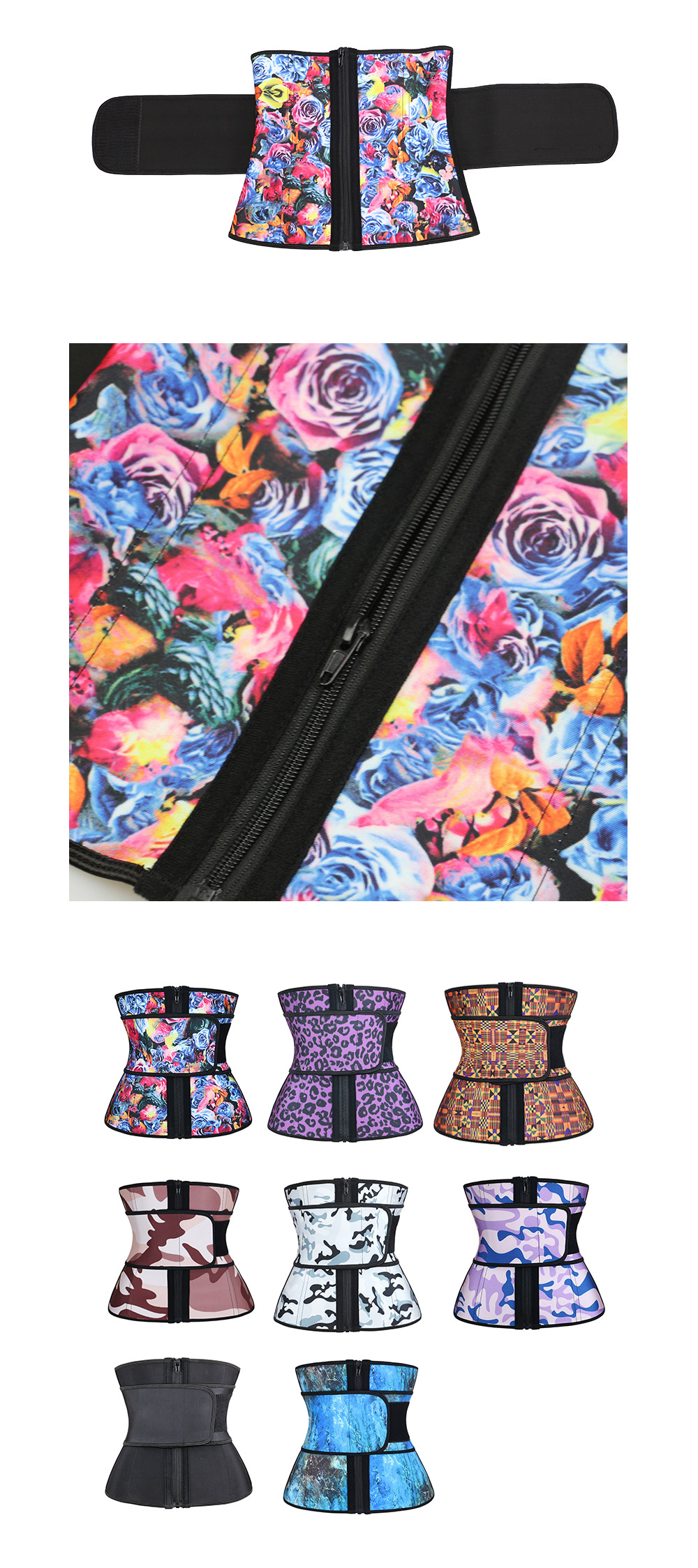 NB1695-2 Atbuty High Compression Waist Trainer Cincher Zipper Rose Printing Tummy Lose Weight Latex Body Shapers Corsets (9)