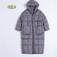 Women Winter Jacket Europea New Style Hooded Jacket Large size Long Loose Outerwear Thick Quilt Warm Duck down Down jacket G2856