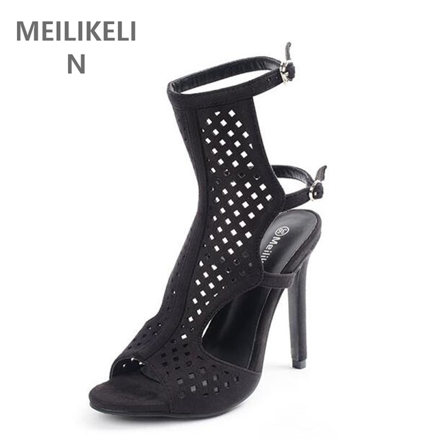 Summer Sandals Vintage Gladiator Roman High Heels Women Sexy Cut Outs Slingback Ankle Buckle Sandals Stiletto Party Shoes black