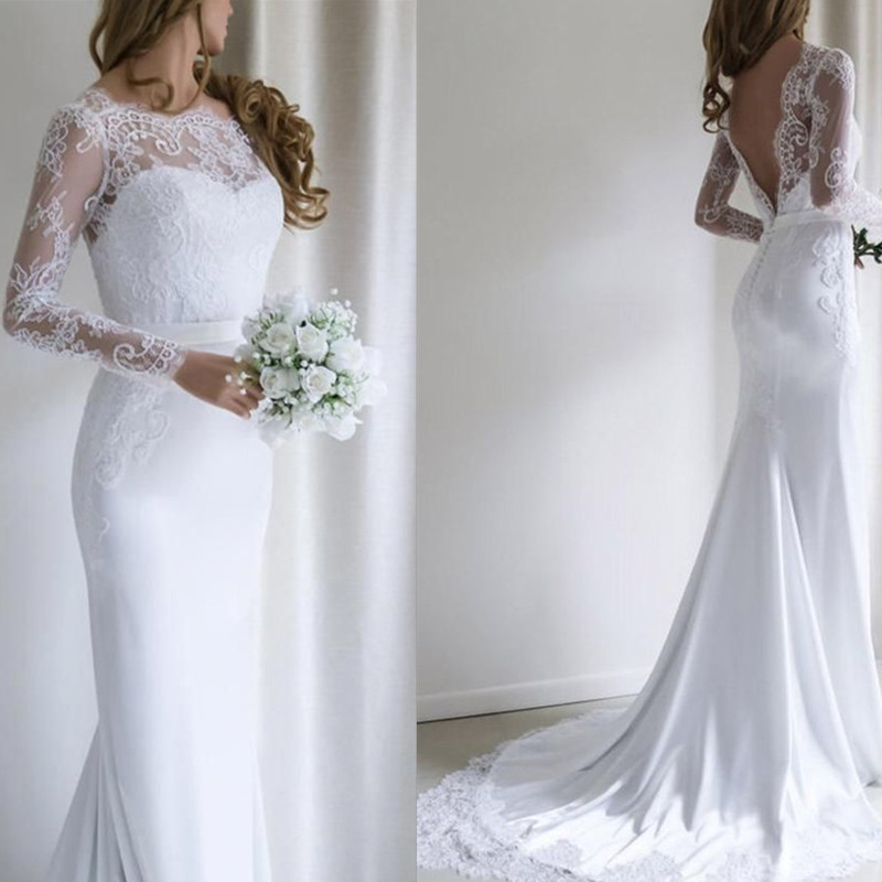 Illusion Lace Scoop Neckline Long Sleeves V-back Mermaid Wedding Dress With A Belt Sweep Train Lace Applique Bridal Dress