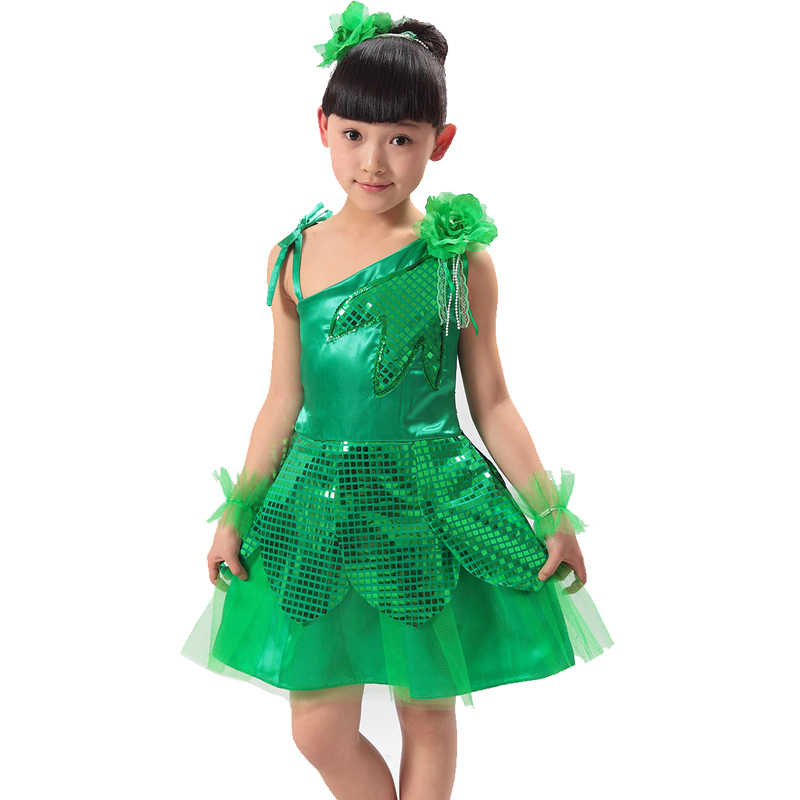 Kinerja anak memakai kostum tali putri anak dress daun bunga gadis tulle balet tari panggung dress