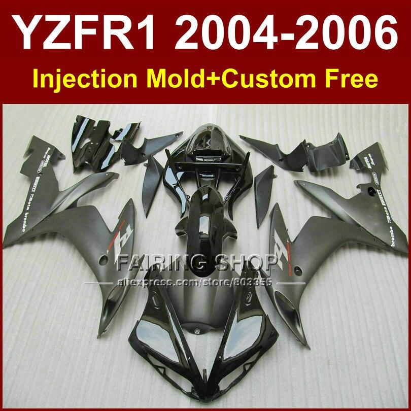 7gifts Injection racing motorcycle fairings kit for YAMAHA 04 05 06 YZFR1 YZF 1000 YZF R1 2004 2005 2006 flat black fairing kits