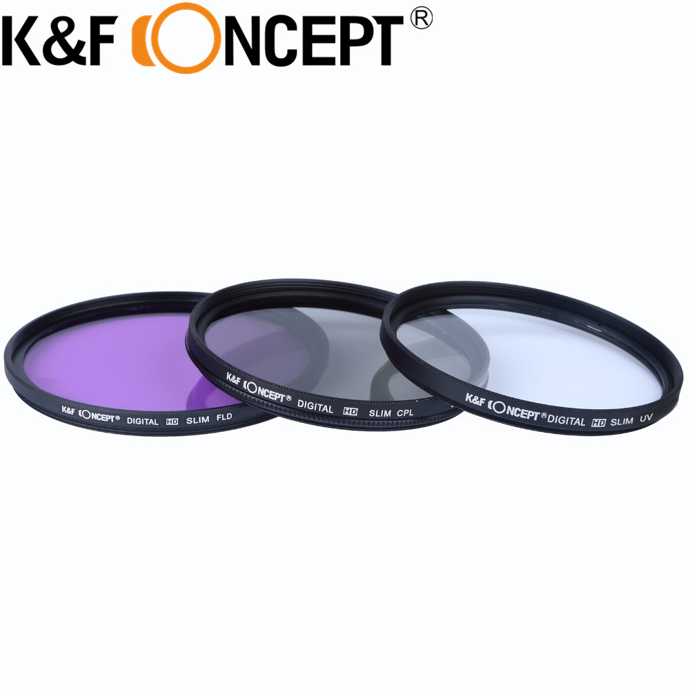 KF CONCEPT 52 55 58mm Graduated Color ND Neutral Density UV Protector CPL FLD Lens Filter Kit For Sony A200 A450 A300 Alpha