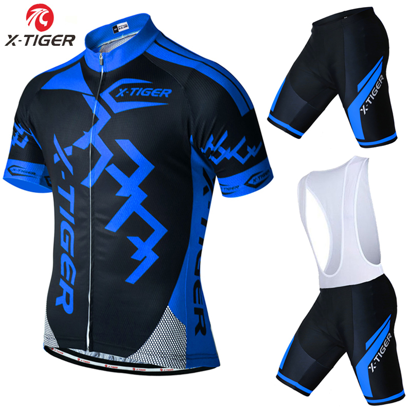 X-Tiger Brand Pro Bicycle Wear Maillot Ropa Ciclismo Short Sleeve Breathable Cycling Jersey set With Bike Cycling Bib Shorts summer breathable bicycle bike mtb wear cycling short sleeve jersey jacket cloth clothing maillot ropa ciclismo shorts pant bib