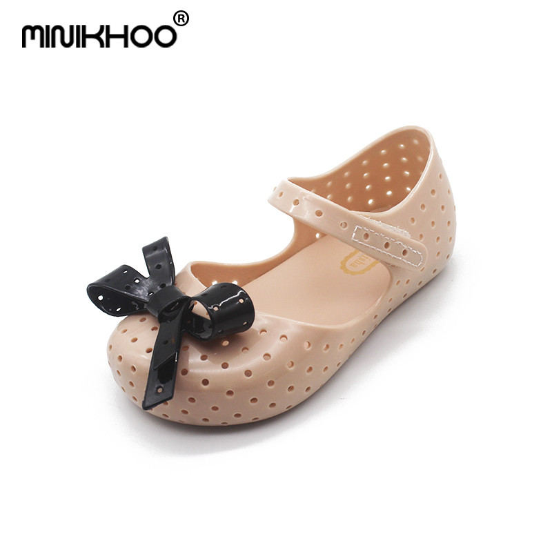 Mini Melissa New Bow Brazil Girls Jelly Sandals 2018 Summer Children Shoes Baby Princess Melissa Sandals Non-slip 14.5cm-17cm