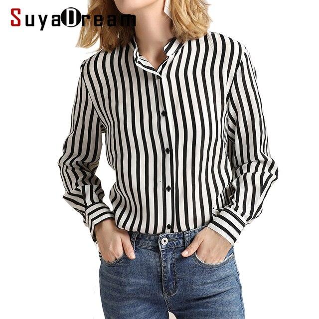 3a1c8833a9 Mulheres Blusa Listrada 100% REAL chiffon DE SEDA Moda blusa de manga  comprida camisa Blusas