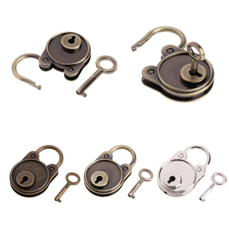 OOTDTY Vintage Bear Antique Style Mini Archaize Padlocks Key Lock With key For Handbag/Small Luggage/Tiny Craft Diary/Toy/Box metal old vintage style mini padlock small luggage box key lock copper color lot of 3 home usage hardware decoration