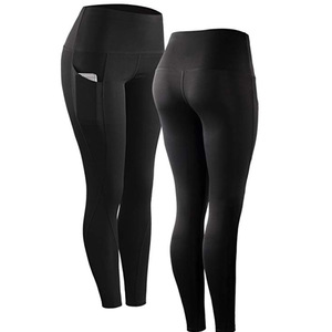 Image 2 - 2019 여성을위한 포켓과 높은 허리 스포츠 Legging 패션 새로운 여성 운동 스트레치 바지 플러스 크기 탄성 피트 니스 레깅스