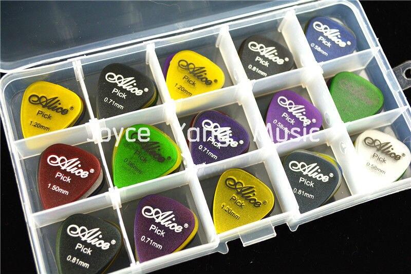 100pcs Alice Matte Clear Transparent Acoustic Electric Guitar Picks Plectrums+1 Large Plastic Picks Holder Case Box