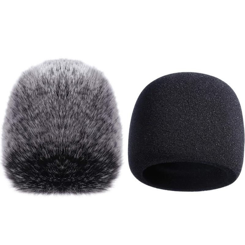 Mic Cover Sponge Microphone Windscreen For Blue Yeti, Yeti Pro Condenser Microphone (Sponge And Furry Windscreen, 2 Pack)