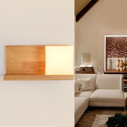 Simple Wooden Glass Wall Lamp Modern LED Wall Light Fixtures For Bedroom Indoor Home Lighting Bedside Wall Sconce Lampara