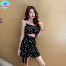 2019 French retro new womens summer sexy wavelet point exposed belly high waist strap slim dress