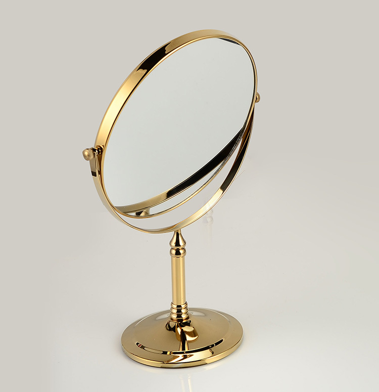 Simple Bath Mirrors 8 Inch Round Wall Mirror Table Magnifying Mirrors Makeup Cosmetic Golden Double Side Brass Mirror for Bathroom 728K in Bath Mirrors from Home Simple - Cool magnifying makeup mirror For Your House