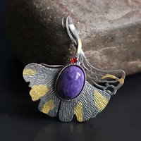 The character of silver high price premium S925 silver accessories air crystal pendant temperament conspicuous purple