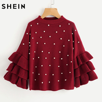 SHEIN Pearl Beading Tiered Ruffle Sleeve Jumper Burgundy Women Sweaters And Pullovers Crew Neck Long Sleeve