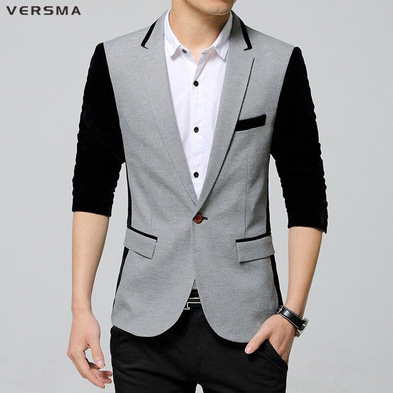 VERSMA 2017 coréen Patch gris rayé costume Blazer Hombre hommes Jaqueta Terno Blazer Masculino décontracté veste hommes Blazer Designs 5XL
