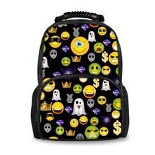 FORUDESIGNS 3D Emoji Smile Face Printing School Backpack,Fashion Cotton Student Bag for Boys Girl,Black Larege Schoolbag Stachel