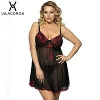 Для женщин сексуальное ночное белье Ночная сорочка на бретельках XL Extra Large Размеры черные кружевные рубашки сна Женская одежда для сна ночну...