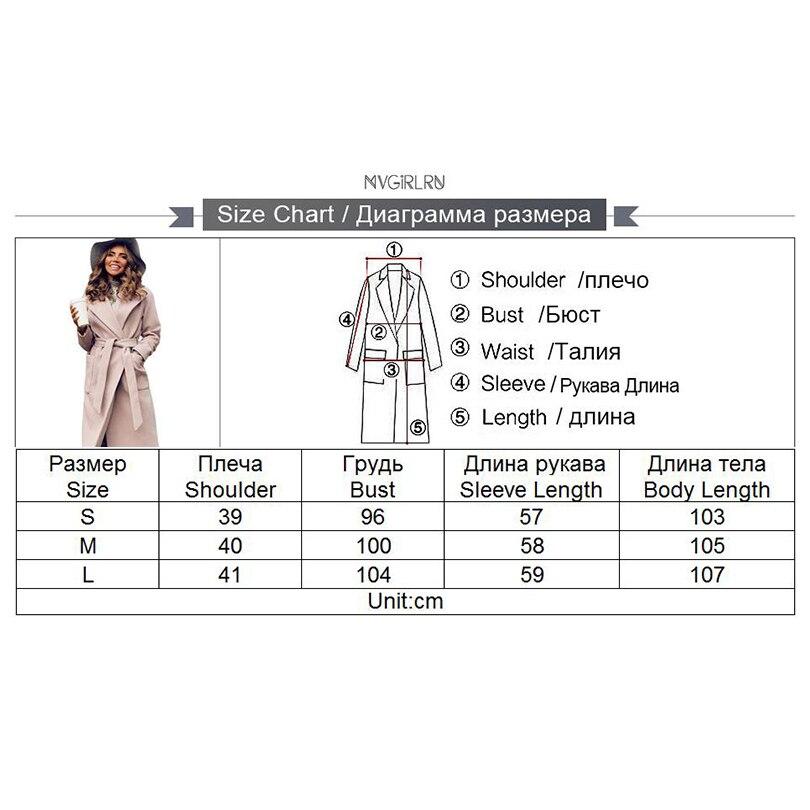 MVGIRLRU élégant Longues Femmes de manteau revers 2 poches ceinturé Vestes solide couleur manteaux vêtements de dessus pour femmes - 6