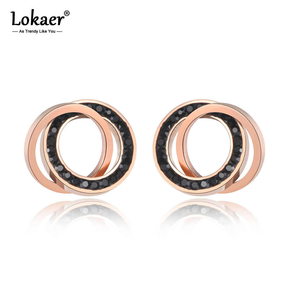 Lokaer Trendy Stainless Steel Clay Crystal Double CirclesStud Earrings Jewelry Rose Gold Vintage Earrings For Women Girls E19091