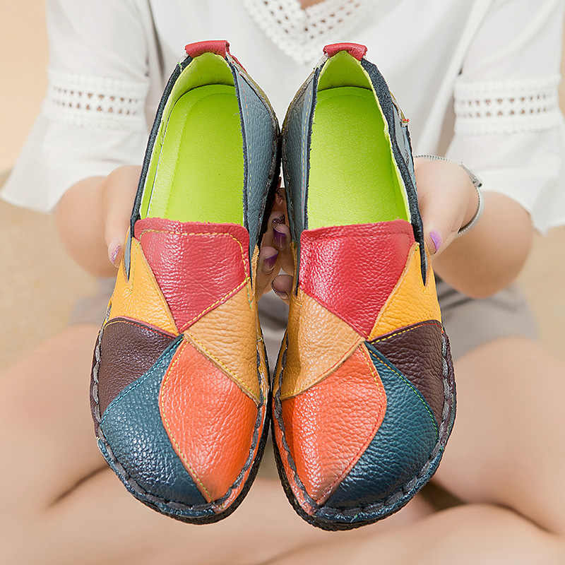 Dongnanfeng senhoras do sexo feminino mãe sapatos de couro genuíno apartamentos designer mocassins deslizamento colorido plus size 41 42 tb-2098