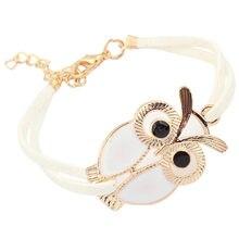 9af1a17870f8 Moda mujer niñas pulseras Vintage búho decoración pulsera imitación cuero  pulseras joyería impecable accesorios pulsera