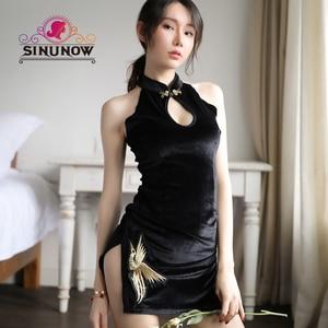 Image 1 - women Embroidered Retro Cheongsam Sexy Temptation Underwear Babydoll Lingerie Nightwear Dress Black Velvet Sexy Costumes