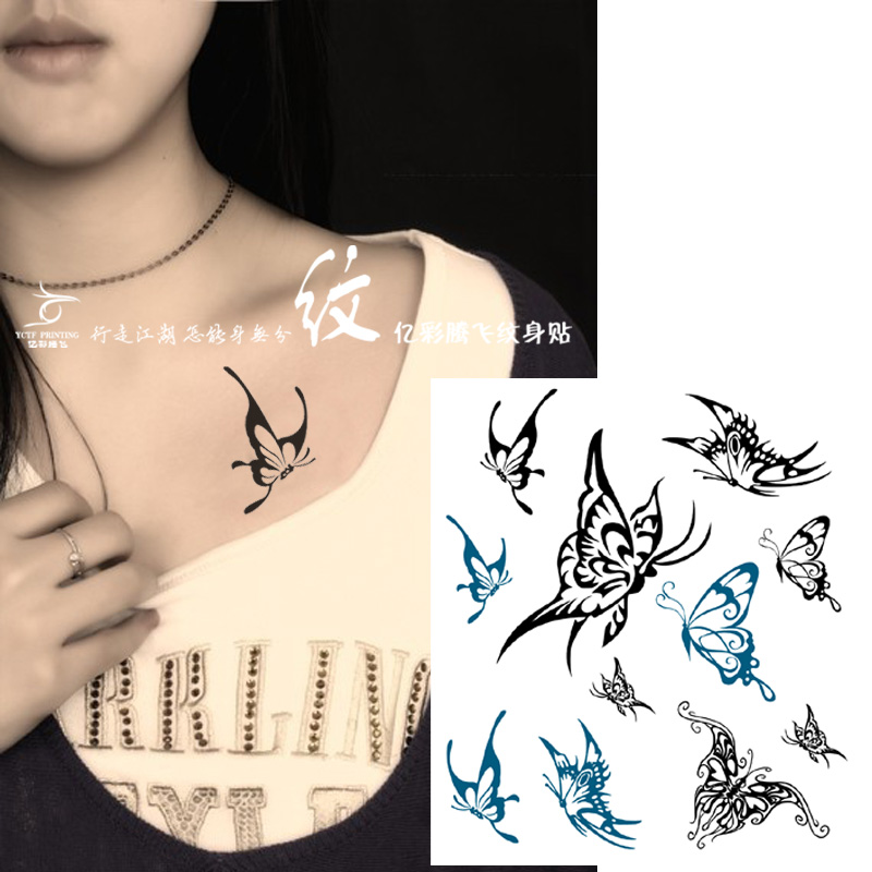 Temporary Tattoos Sticker for Women Arm Leg Chest Sexy Fake Butterfly Black Green Designs Waterproof Long Lasting Real Looking