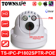 TOWNSAFE new TS-IPC-P1802SPTR-POE Full HD 1080P 2.0MP ONVIF Security MINI PTZ Dome IP Camera POE PIR Built-in 32GB TF Card P2P