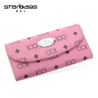 Starbags Genuine Leather Wallets Designer Casual 3 Fold Card Holder Purse Bag Long Section Print Real