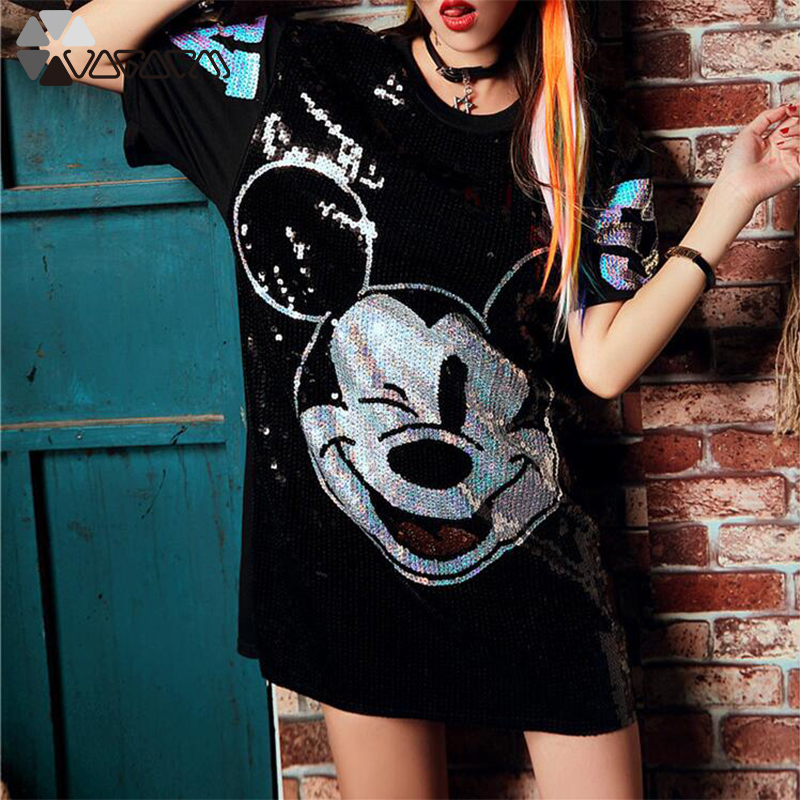 Women Summer Plus Size Dress Short Sleeve Streetwear Casual Loose O-Neck Minnie Mickey Mouse Sequin Party Club Mini Dresses