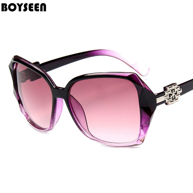 c6e5713b7c7c BOYSEEN Hot Sale Fashion Sunglasses Women Classic Brand Designer Female Twin -Beams Coating Mirror Flat Panel Lens 5045