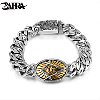 ZABRA Genuine 925 Silver Eye Of Horus Men Bracelet Punk Rock Gold Vintage Flower Cross Sterling Silver Bracelets Man Jewelry