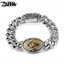 Zabra genuine 925 prata olho de horus homens pulseira punk rock ouro do vintage flor cruz prata esterlina pulseiras homem jóias