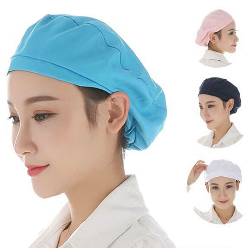 1pc Textile Women Cap Cooking Hygienic Dust Cap Men Kitchen Chef Uniform Waiter Work Wear Workshop Resturant Bakery Hats BBB0085