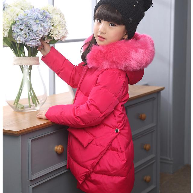 2016 Moda Para Baixo da Menina jaquetas/casacos de inverno Casacos grossos do bebê Rússia pato Quente jaqueta Crianças Outerwears-25 grau jaquetas