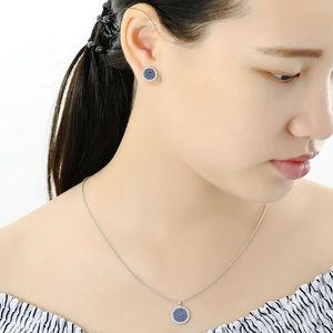 Image 5 - SANTUZZA Silver Jewelry Set For Women Blue Black CZ Round Circle Ring Earrings Pendant Set 925 Sterling Silver Fashion Jewelry