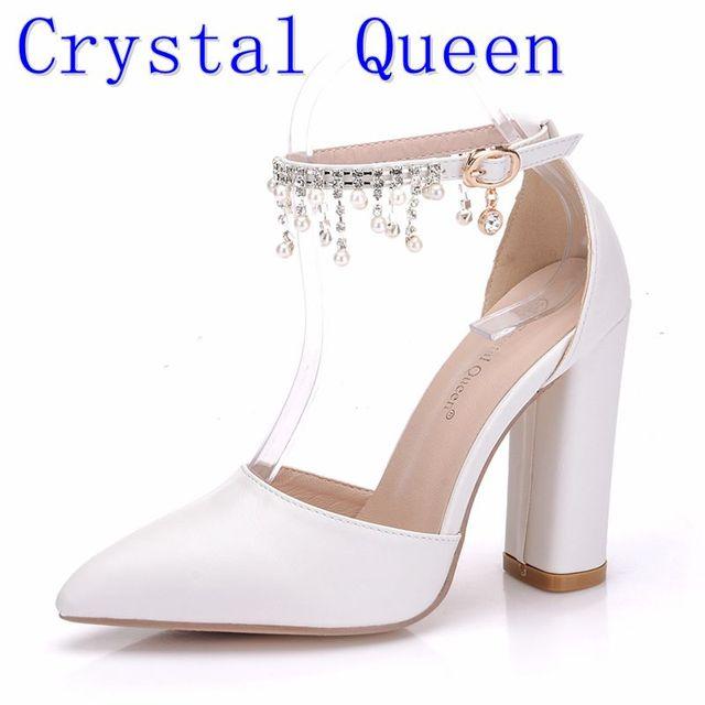 Crystal Queen Buckle Strap Woman Pearl Rhinestone Wedding Shoes Heels  Heeled Sandals 11CM Ladies White Platform 4e83b11379e7