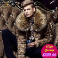 2017 Men Fashion Wild Style Luxury Fur Collar Leather Coat jacket Parkas Overcoat Warm Winter Outerwear Thick Down