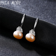 Fyla Mode Brand New Cute Oval Natural Pearls Pendant Drop Earrings Heart Crown Shape Brincos For Women Wedding Girl Jewelry
