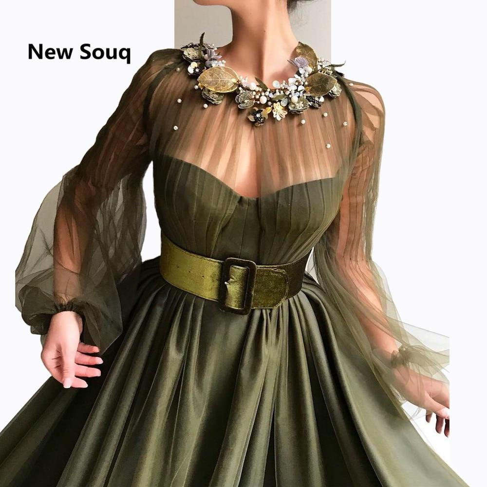 2019 Sheer Tulle Long Sleeves Evening Dresses Custom Floor Length A-Line Prom Dress Arabic Dubai Evening Party Gowns