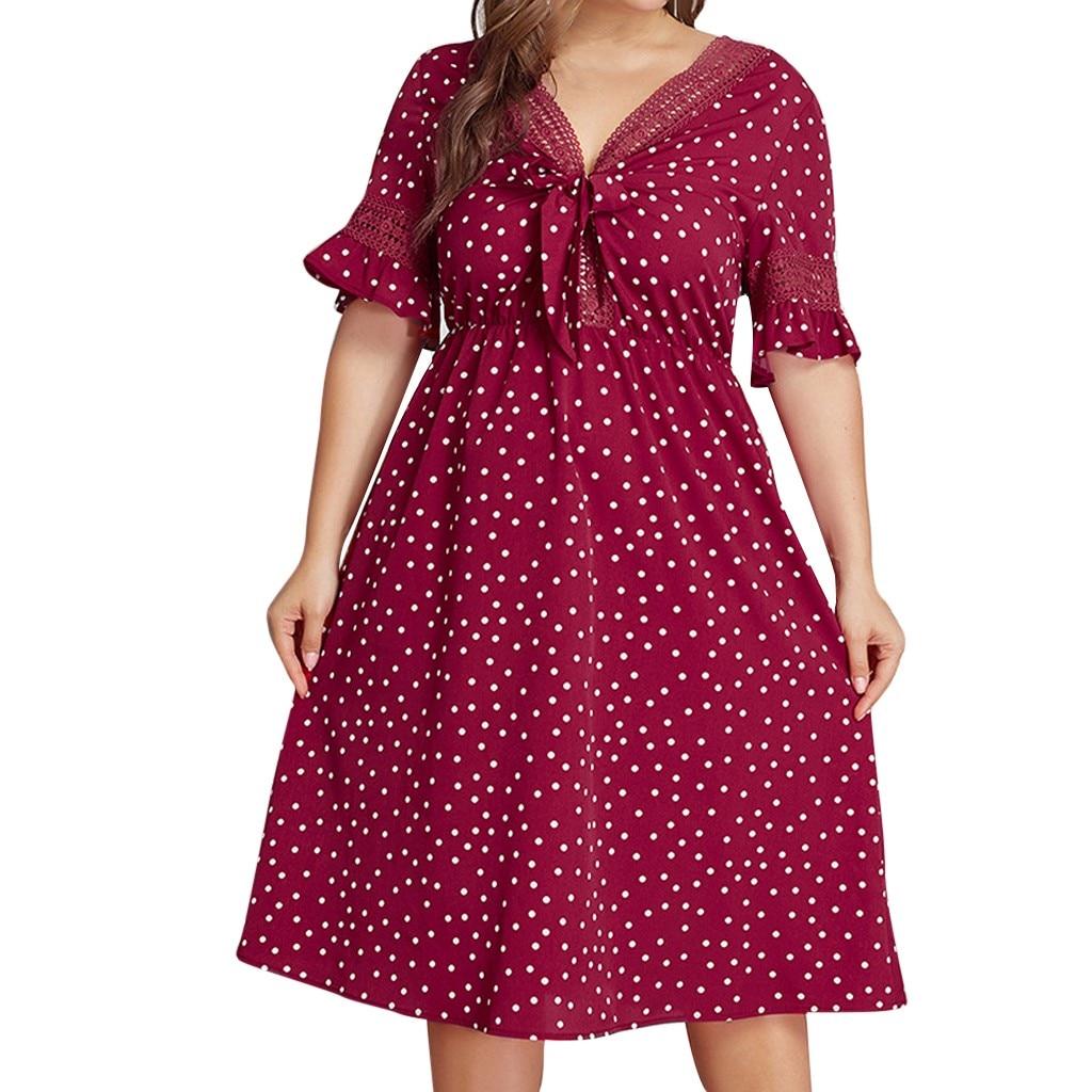JAYCOSIN платье женское летнее плюс размер сексуальное платье винтажное элегантное vestidos красное в горошек женское платье shein свободное платье роковой 425