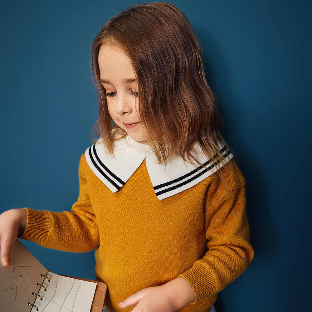 Balabal/Детский свитер; хлопковый свитер тонкой вязки для маленьких девочек; джемпер; детская зимняя вязаная одежда с милым матросским воротником