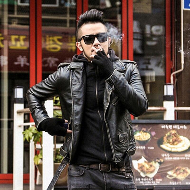 brand Men Leather Jacket Casual sheepskin genuine Leather Coat Male Short Design retro Men Autumn Leather Jacket Black Coat